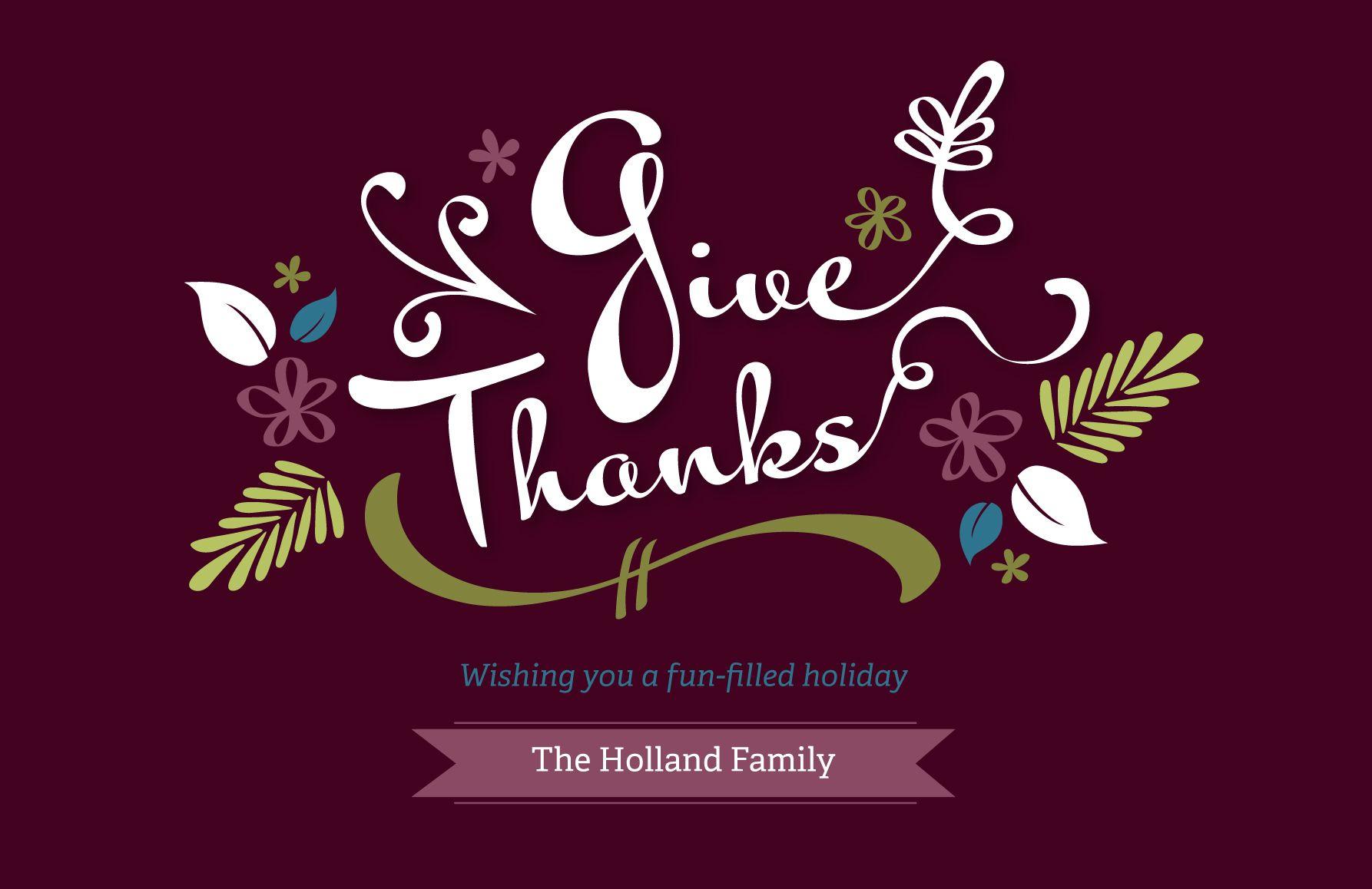 Give thanks thanksgiving card vistaprint folded