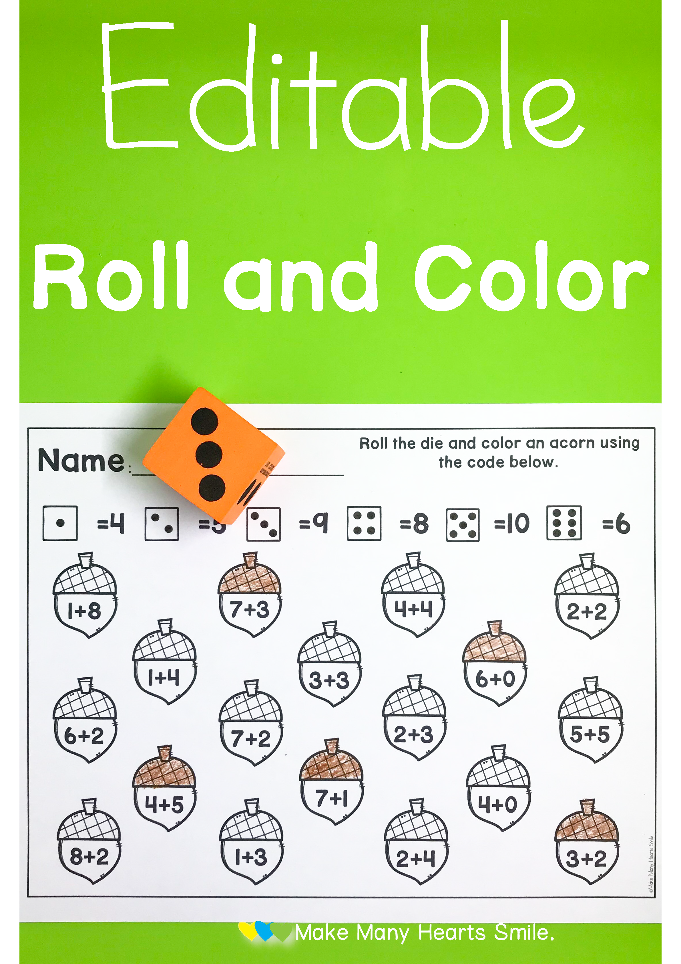 Editable Roll And Dot Worksheets Mhs2