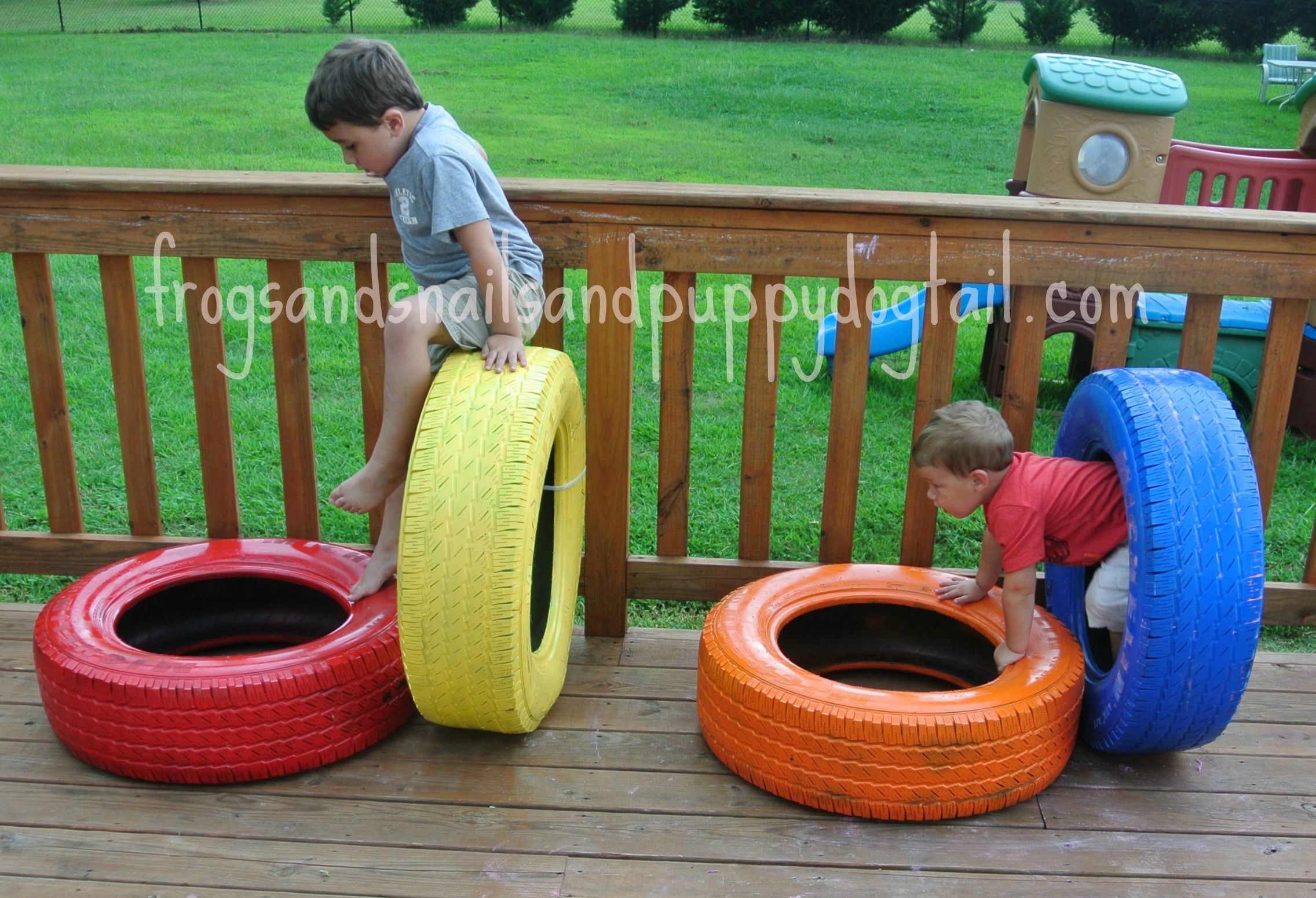 Diy tire obstacle course from frogs and snails and puppy