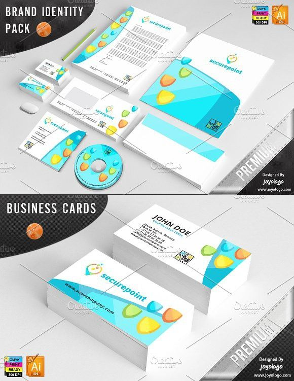 3D Shields Point Security Identity. Creative Business Card Templates