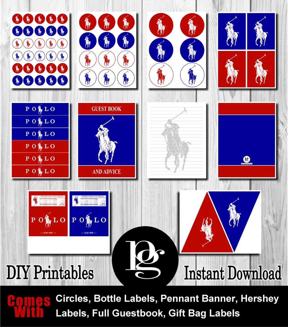 a2af6430b7c5 Polo party package - polo Printables - DIY Polo Party Favors - Polo Party  Decorations - Polo