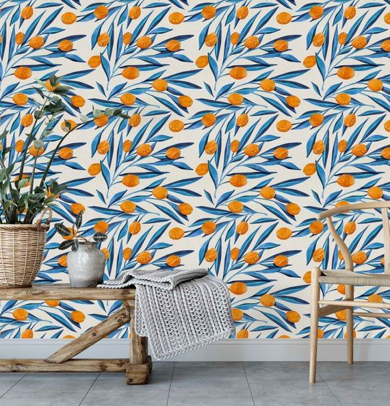 Orange And Blue Wallpaper Removable Peel Stick Wall Mural Etsy Blue Wallpapers Orange Peel Wall Texture Vintage Floral Wallpapers