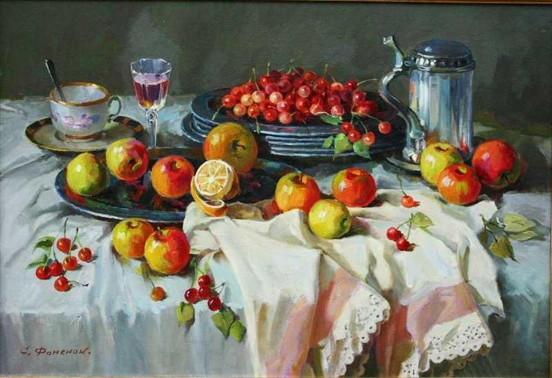 Stanislav Fomenok - Stilleben mit Äpfeln und Kirschen