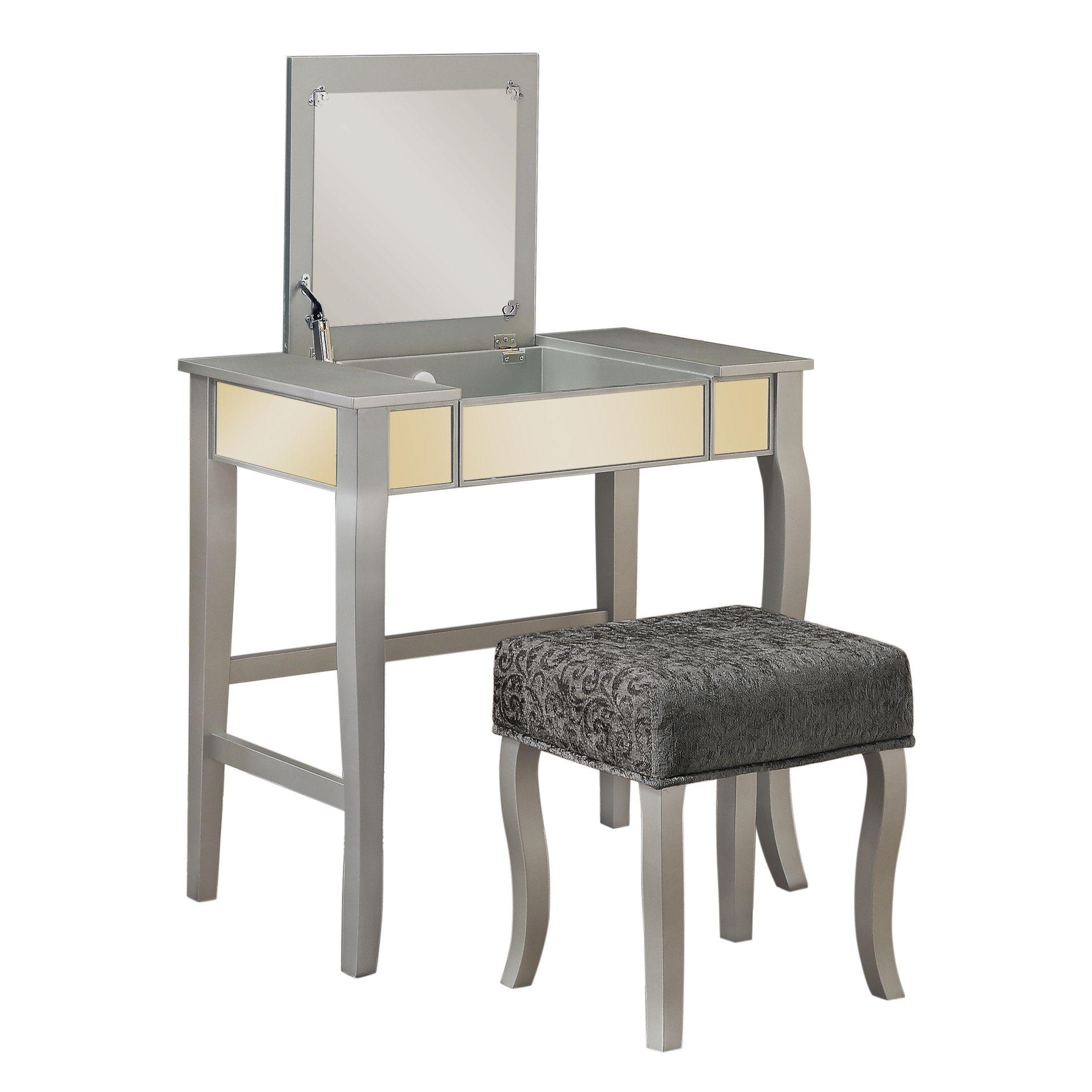 2-Piece Jolene Mirrored Vanity & Stool Set