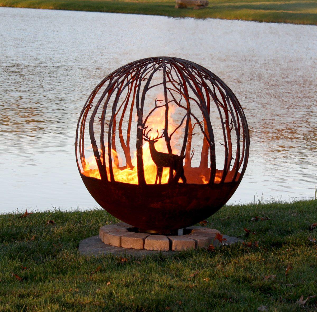 Winter woods fire pit sphere
