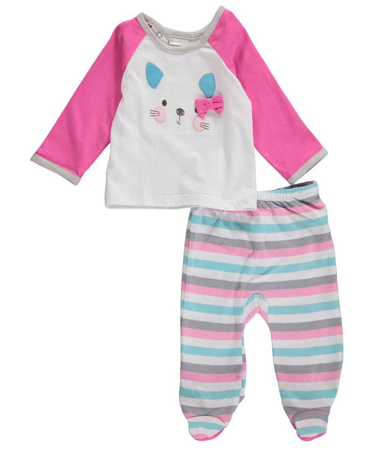 fad98e45a16a Amazon.com  ABSORBA Baby-Girls Newborn Cat Face Footed Pant Set ...