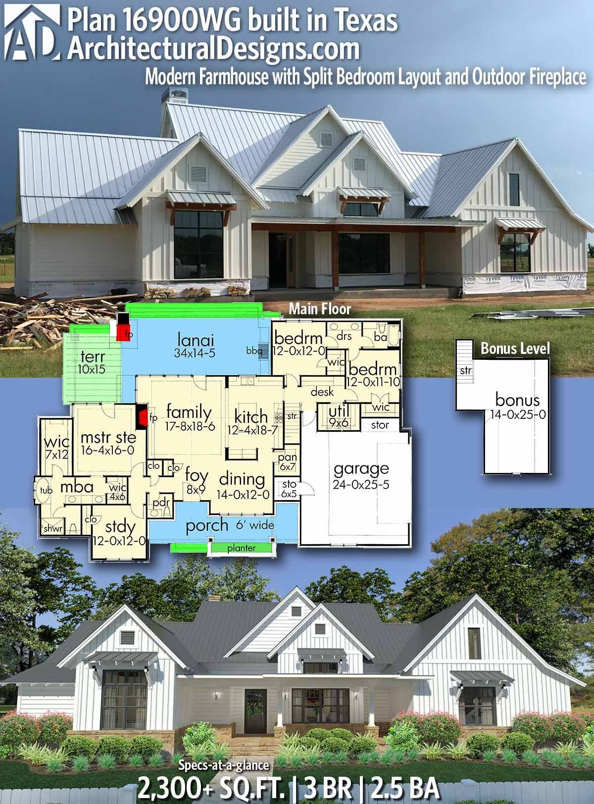 Plan 16900wg Modern Farmhouse With Split Bedroom Layout And Outdoor Fireplace In 2020 Farmhouse Plans House Plans Bedroom Layouts