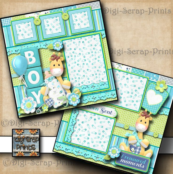 Baby Boy Premade Scrapbook Pages Paper Piecing Layout For Album