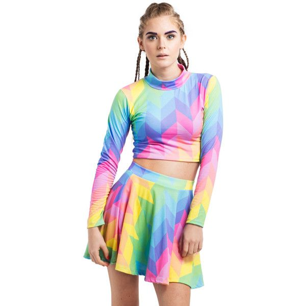 Rainbow Pastel Co-Ord Womens Crop Top Turtle Neck Skater Skirt 2... ($42) ❤ liked on Polyvore featuring tops, silver, women's clothing, pastel crop top, turtle neck top, star print top, pastel tops and hipster tops