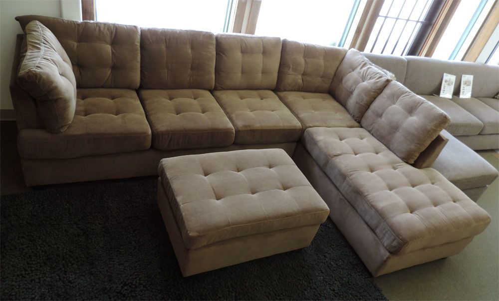 Poundex F7140 Beige Suede Microfiber Fabric Sectional Sofa