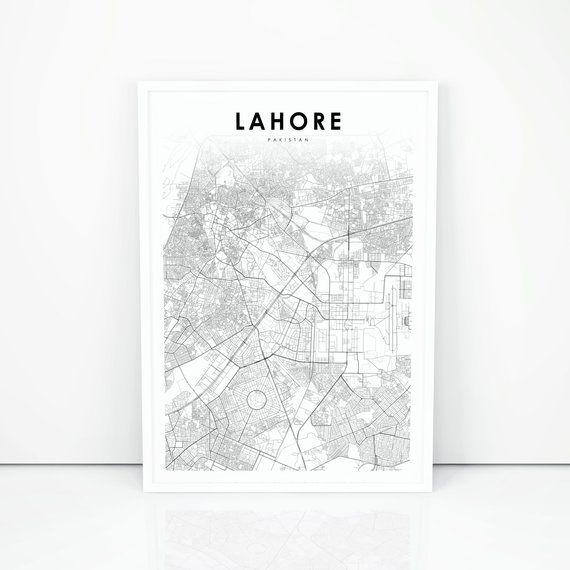 Lahore Map Print, Pakistan Map Art Poster, Punjab City