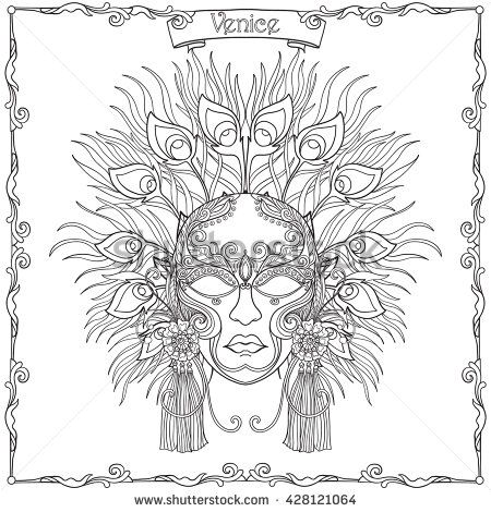 Venetian mask, carnival costume Outline hand draw. Coloring book for ...