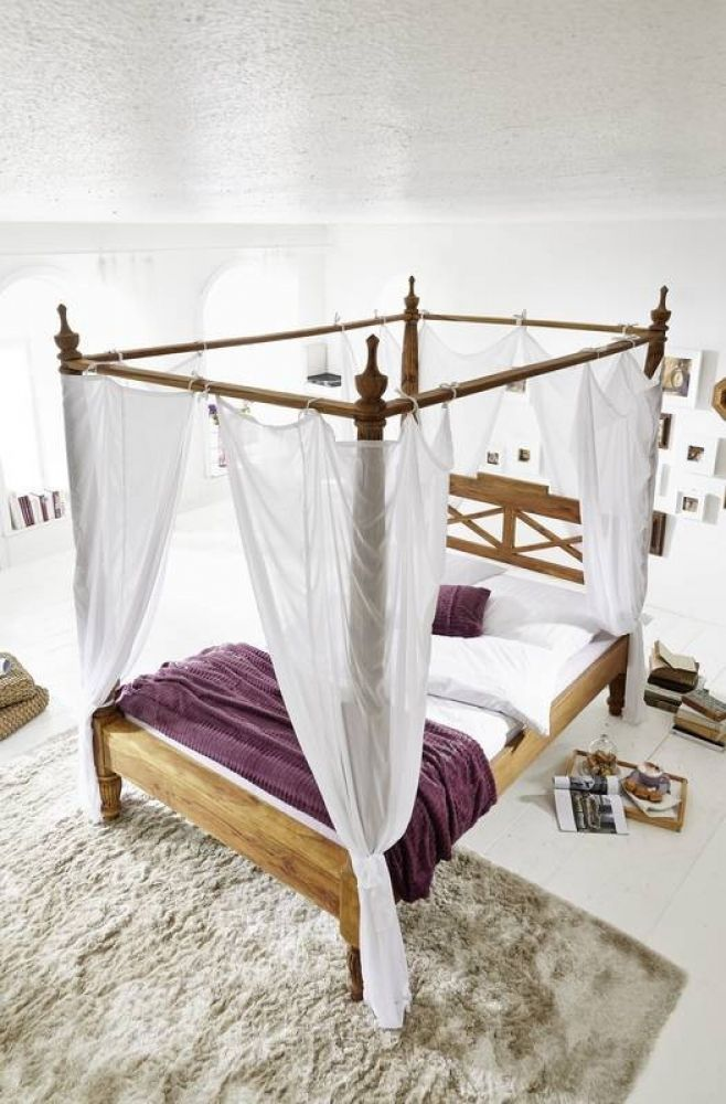 Palisander Holz massiv Himmelbett 160x200 Sheesham Möbel NATURE - schlafzimmer holz massiv