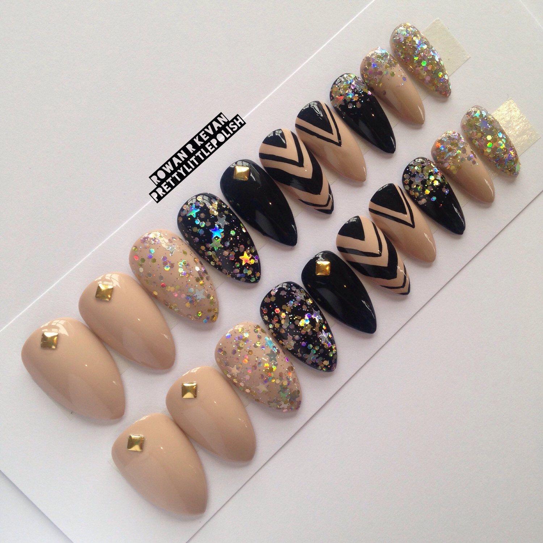 Nude studs & glitter stiletto nails, Nail designs, Nail art, Nails ...