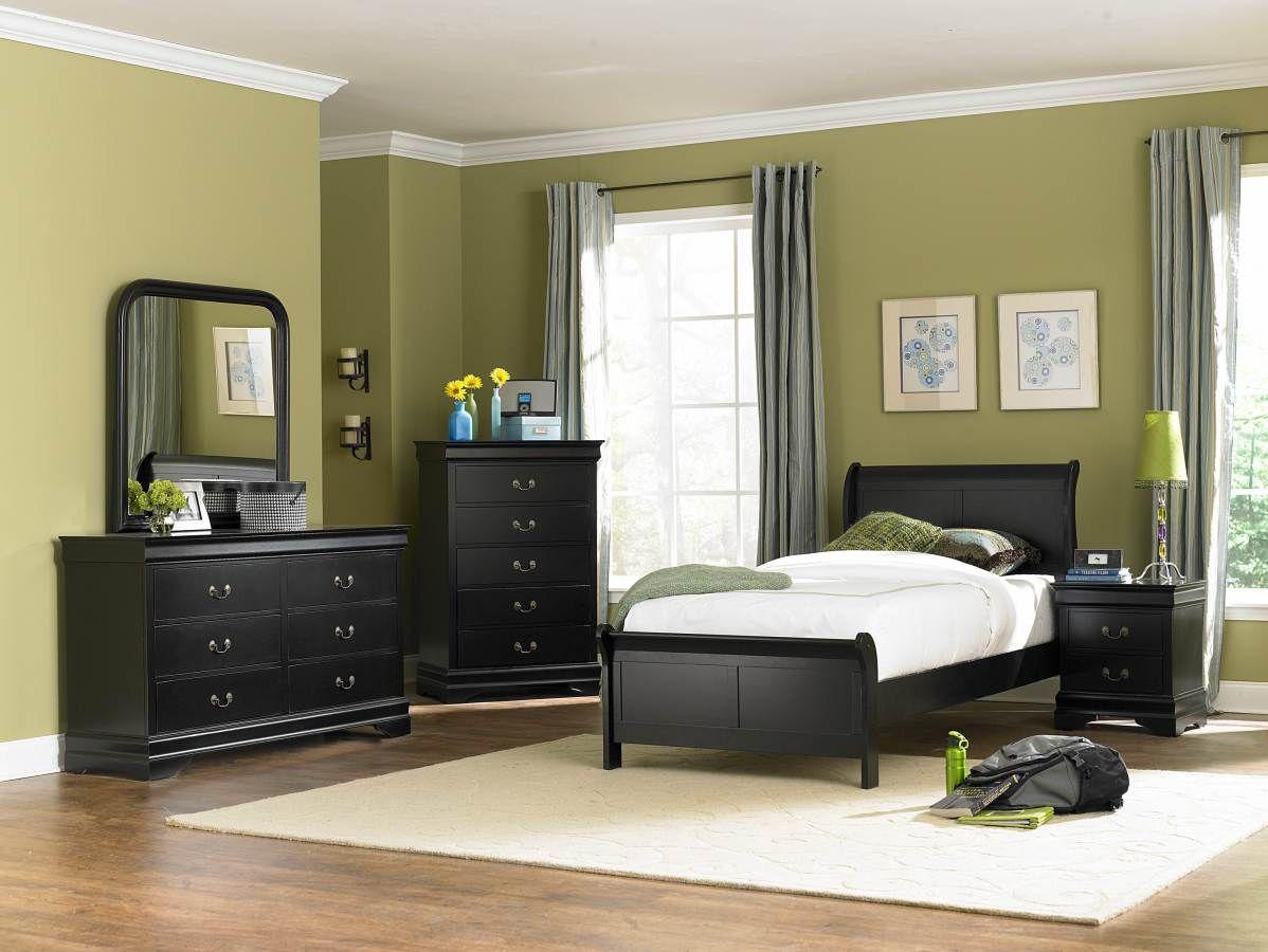 Marianne black wood metal glass master bedroom set bedrooms