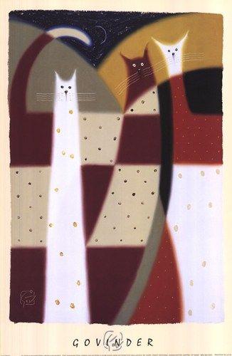 Govinder Nazran - Three Cats - art prints and posters