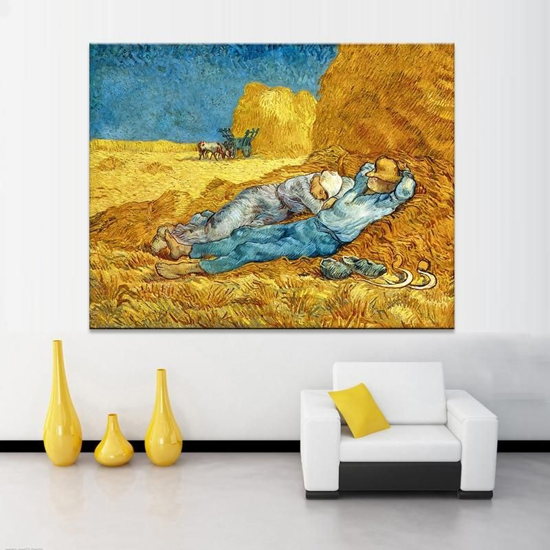 Famous Painting Decorative Posters And Prints Wall Art Canvas Painting Van Gogh S The Siesta Wall Pictures For Living Room Decor Canvas Painting Wall Art Canvas Painting Painting