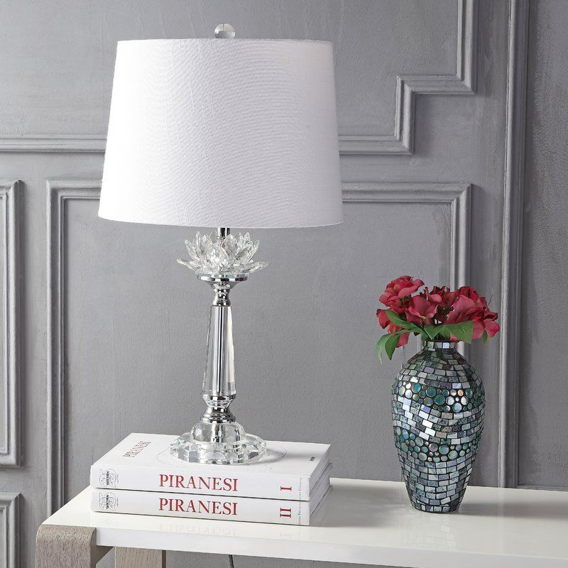 Crystal Table Lamp with Grey Shade in
