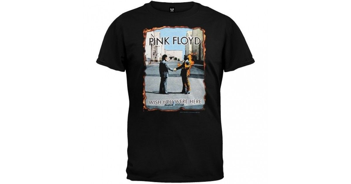 6e63f627f3552 This official Pink Floyd Wish You Were Here t-shirt has the two men shaking  hands graphic on the front with burning edges!The back is blank.