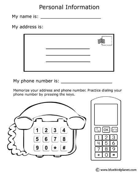 Free printable black \ white worksheets for preschool - name and phone number template