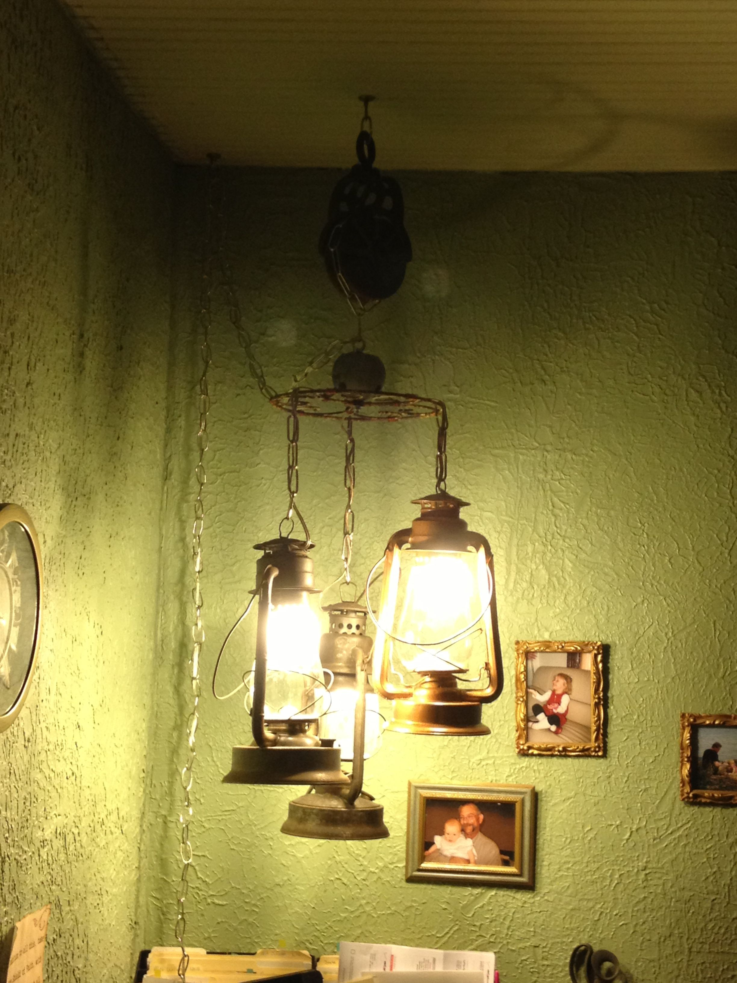 Repurpose Antique Lanterns And Pulley  Or How Use (He