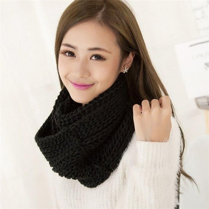 VISROVER 2018 Winter Scarf for Women Knitted LIC Ring Infinity Scarf Cashmere Snood Loop Neck Circle Warm Scarves Neckerchief