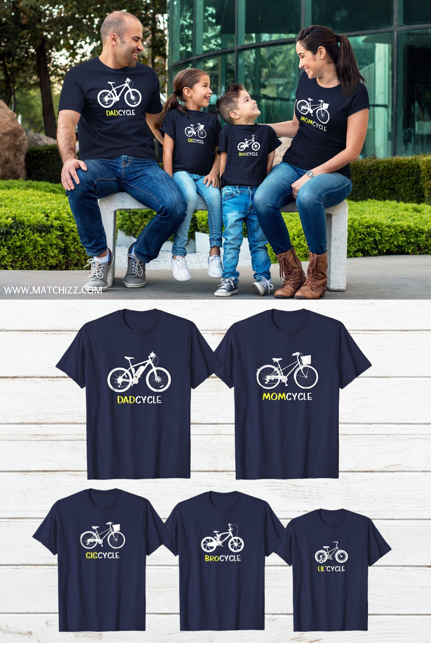 5675f94ecb Cycling Family Outfit Bicycle Mom Dad Son Daughter Matching Shirts  #familyshirts #familyoutfits #familymatchingoutfits#matchingfamilyoutfits  #familypictuyre ...