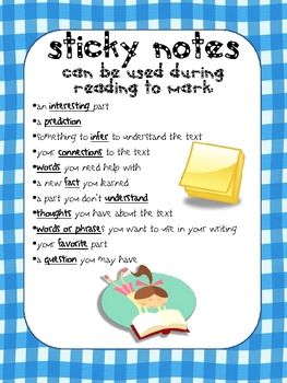 I'm a BIG fan of sticky notes...a list of ways kids can use sticky notes to record their thinking while reading - their metacognition....