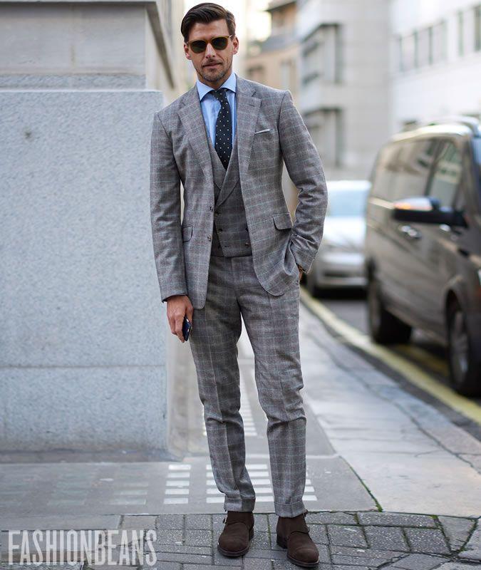 ea6391b154130 Johannes Huebl Three-Piece Checked Suit