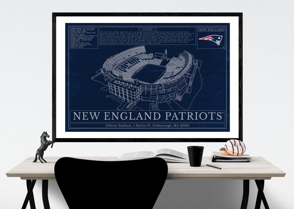 Unique NFL Stadium Blueprint - New England Patriots Gillette Stadium ...