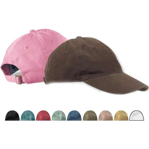 074a71a1 Direct dyed 100% cotton twill, unstructured baseball cap with 6 panels,  sewn eyelets, self fabric closure with D-ring slider and tuck in strap.