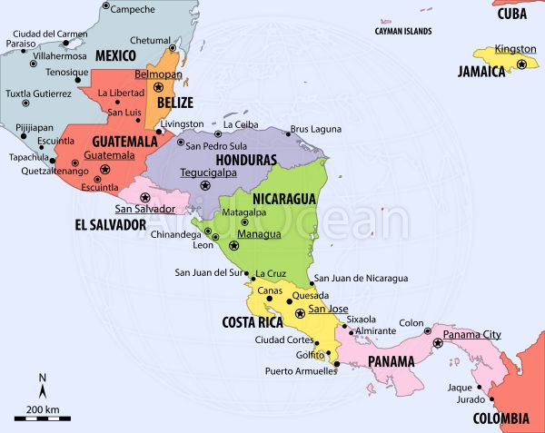map of central america Central America political map