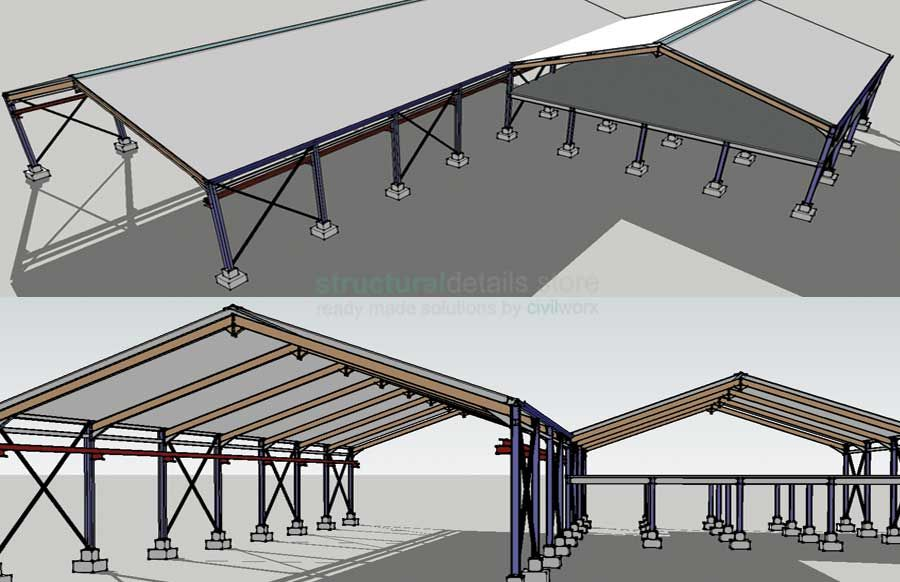 Steel Frame Hangar Complete Design Drawings CAD dwg,dxf and pdf