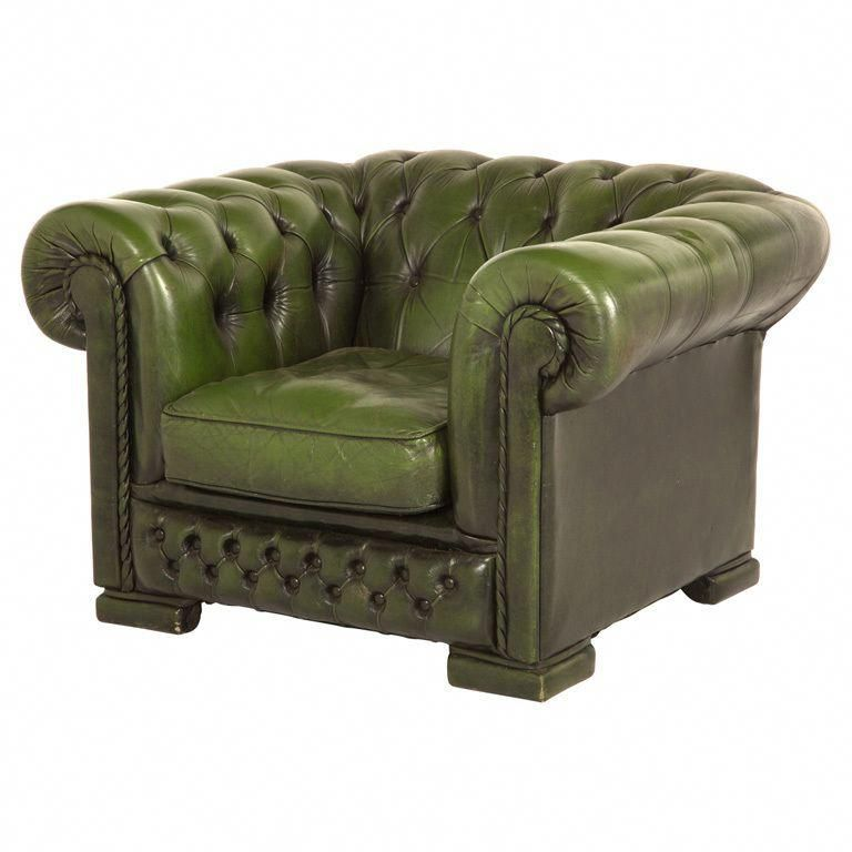 Vintage Green Tufted Leather Chesterfield Chair
