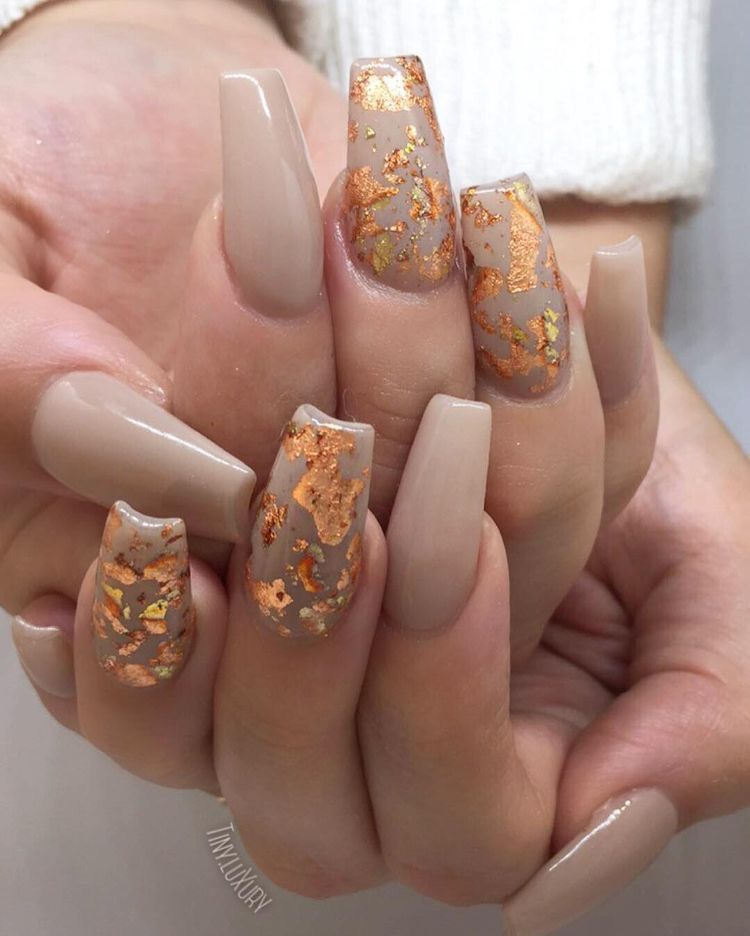 Nude Fall Nails with Orange Foil | Nails | Pinterest | Witchy nails ...