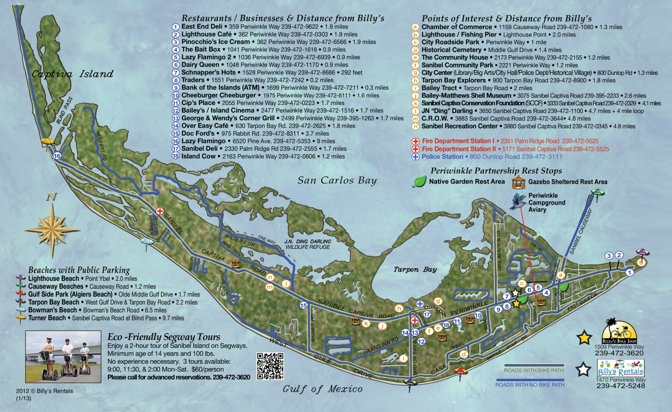 Sanibel Island Attractions Map: Maps Of Sanibel Island