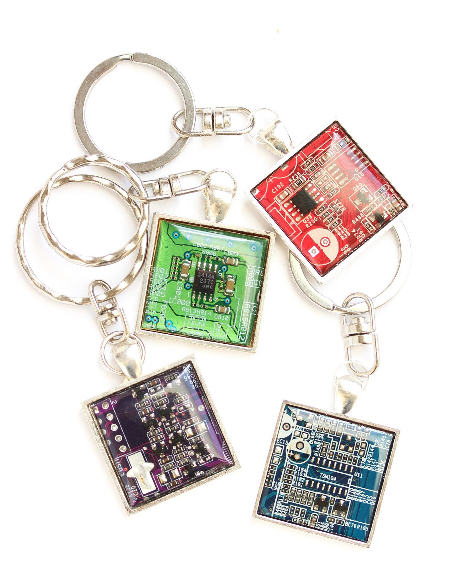 Recycled Circuit Board Keyring Gift T Circuits Clock Black Stones By Debbyaremdesigns Mens Keychain Geeky Gifts For Him Square Resin