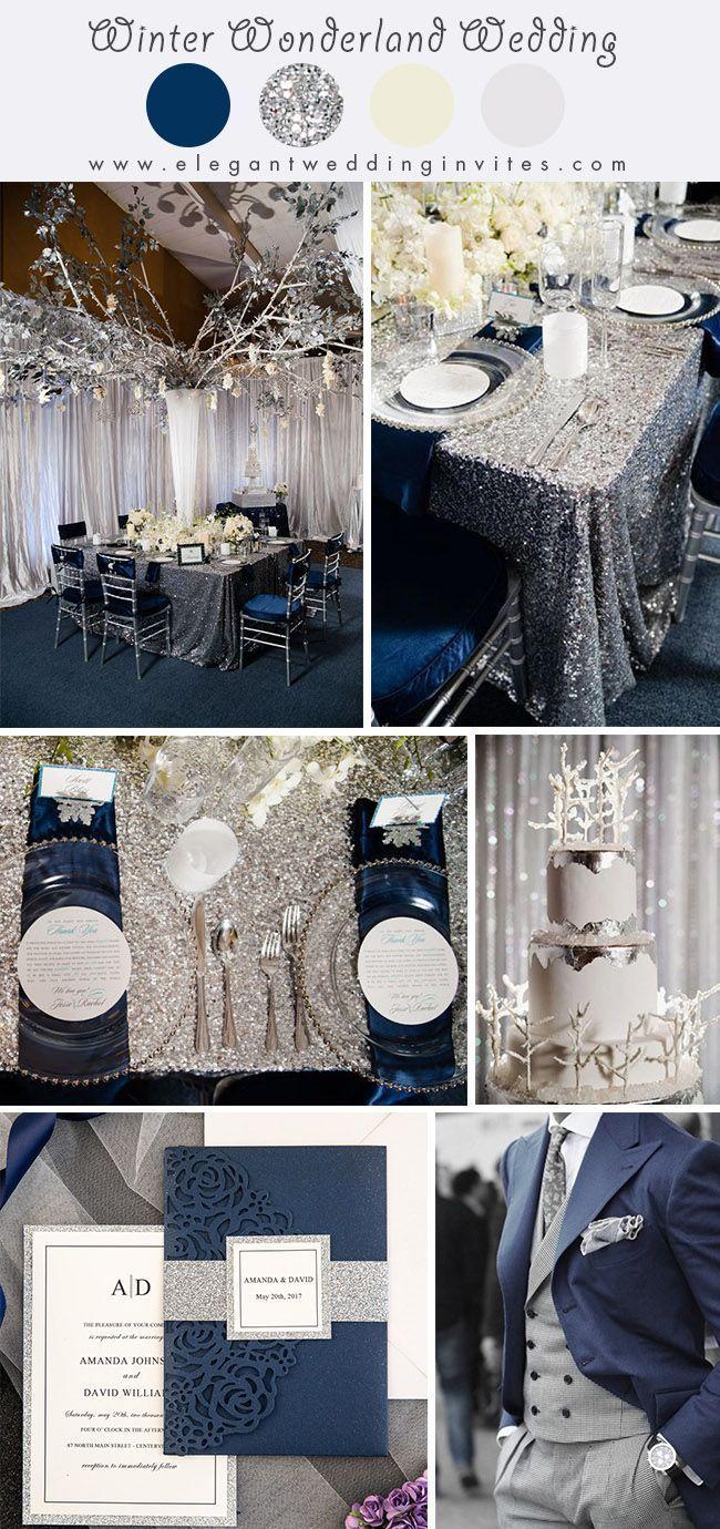 Glimmering Winter Wonderland Hochzeitsideen in den Farben Silber und Blau   – Obligatory Wedding Board