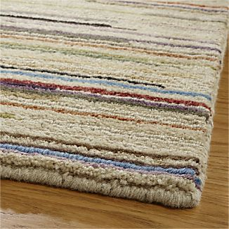 Dining Family Savoy Cream Striped Hand Knotted Wool Rug