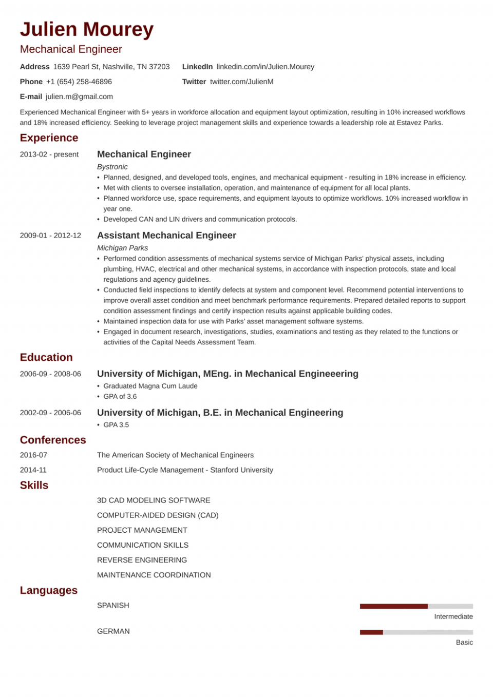 12 Mechanical Engineer Resume Space Of Curiosity 12