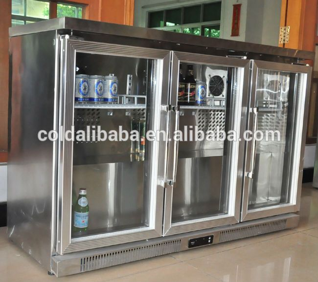 Counter Top Mini Bar Glass Door Fridge Refrigerator 3 Doors Commercial Hotel With