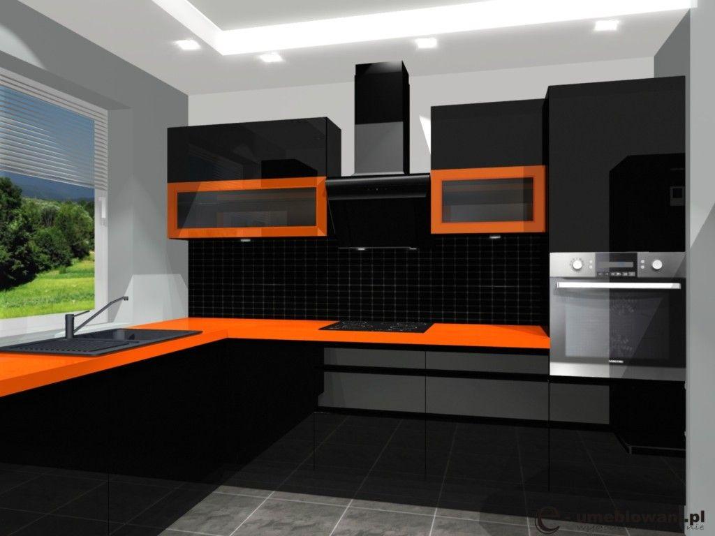 Umeblowanie Kuchni Kuchnia Czarna Pomaranczowa Witryny Blat Pomaranczowy Projekty I Aranzacje Wnetrz Fabryka Projek Kitchen Cabinets Kitchen Home Decor