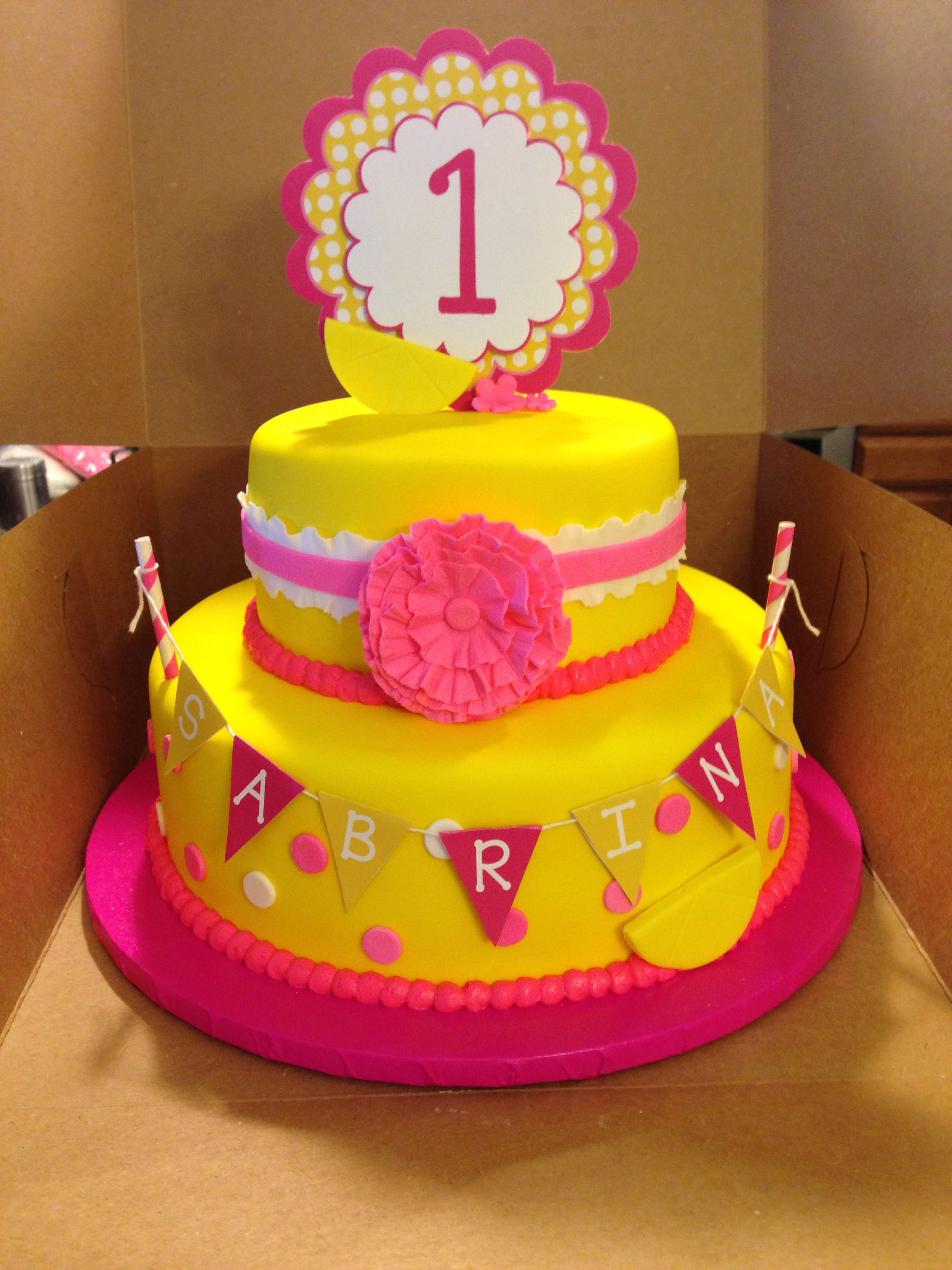 Astonishing Pink Lemonade Themed Cake Lemonade Stand Birthday Pink Lemonade Funny Birthday Cards Online Drosicarndamsfinfo