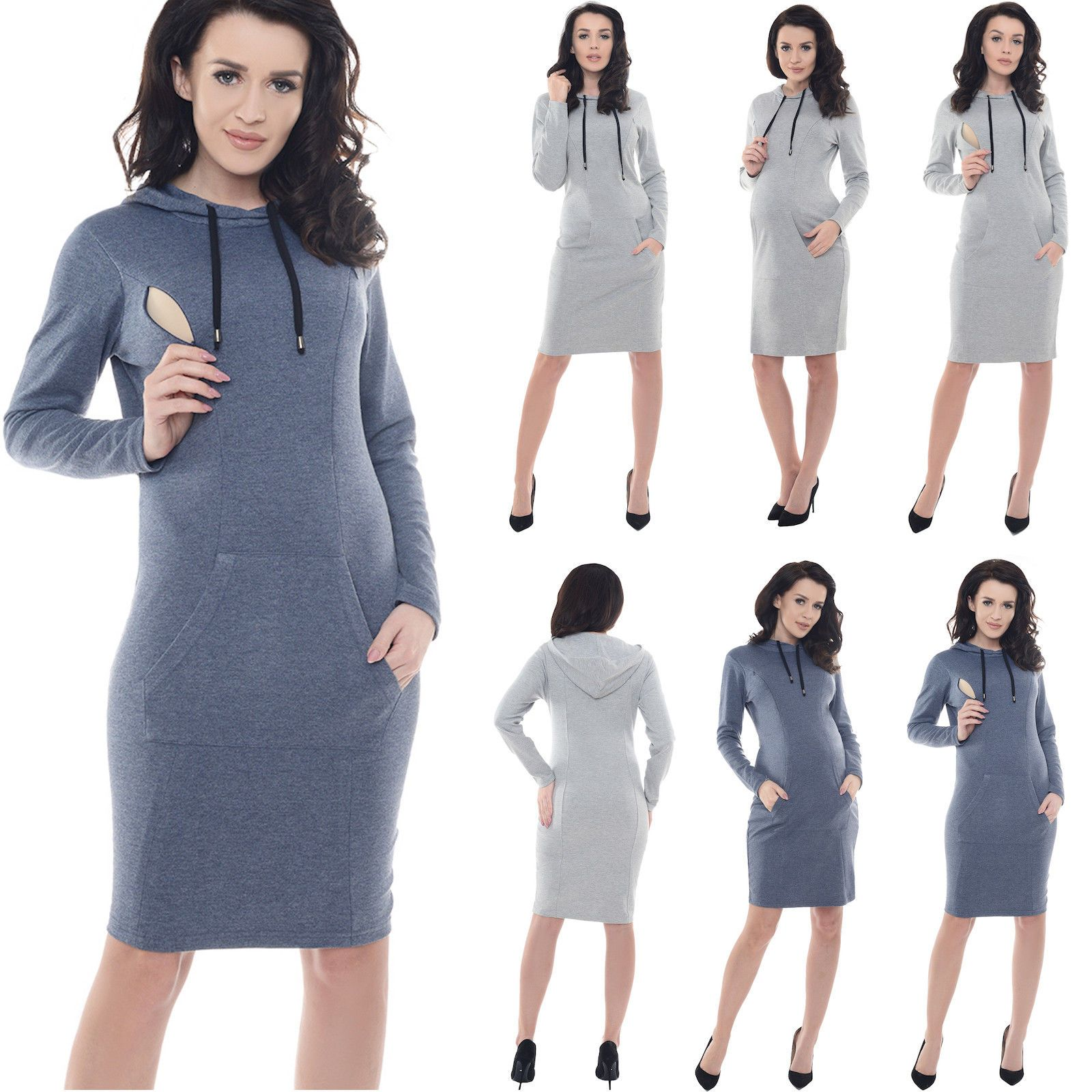 Purpless Maternity Pregnancy And Nursing Hooded Bodycon Dress With Pocket  B6211 ce2b8770389