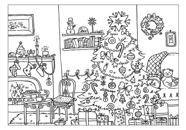 A Christmas Living Room Scene Christmas Coloring Sheets Printable Christmas Coloring Pages Merry Christmas Coloring Pages