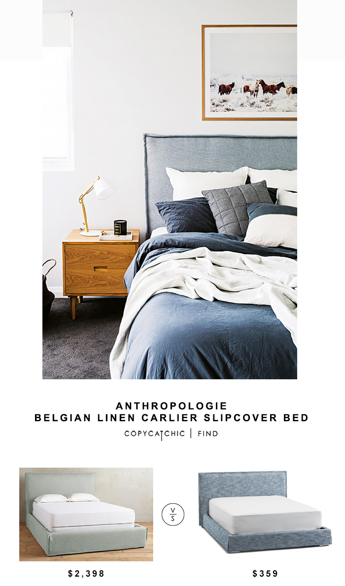 Anthropologie Belgian Linen Carlier Slipcover Bed Luxury Bedding