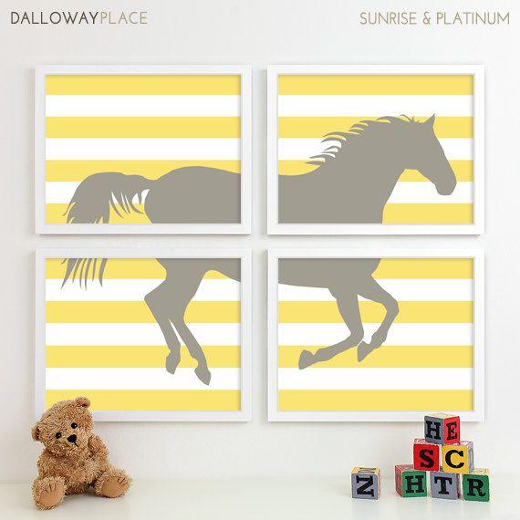 Modern Nursery Art Horse Print Farm Animal Kids Wall For Children Room Playroom Pony Baby Decor Four 8x10