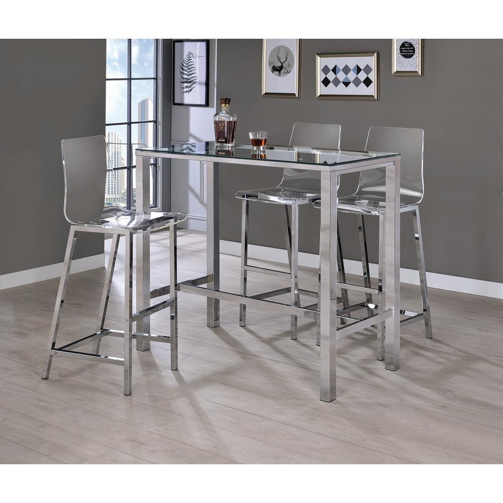 Clear and chrome acrylic bar stool set of 2 clear grey