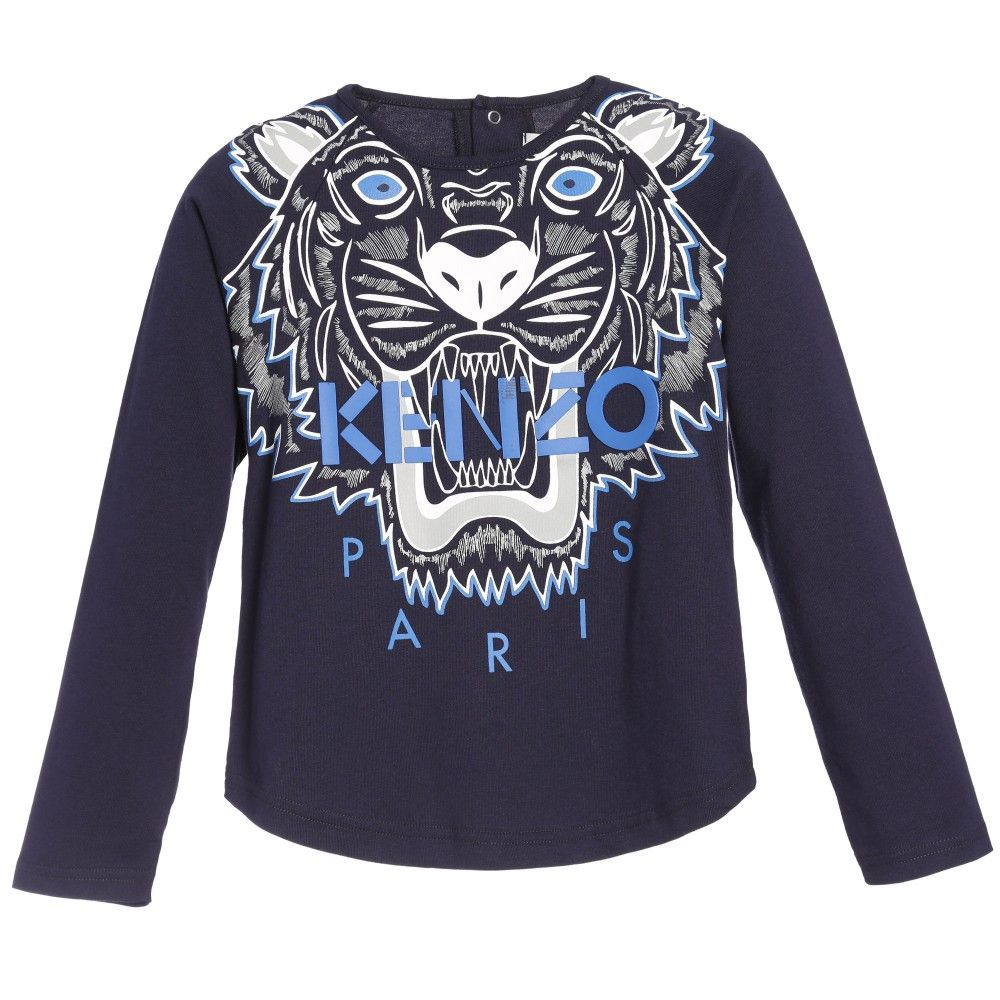 Girls Navy Blue Tiger T Shirt By Kenzo In A Long Sleeved