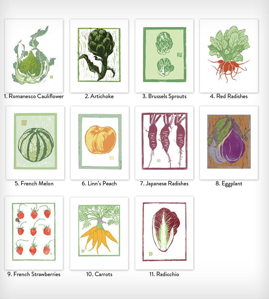 Vegetable Block Paintings Prints Original Block Prints Print Sets